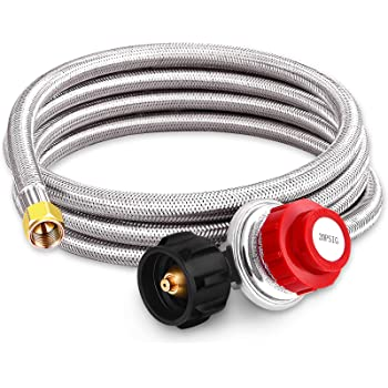 Kohree 8 FT High Pressure Propane 20 PSI Adjustable Regulator with Hose Stainless Steel Braided QCC-1 Type Connection for Newer U.S. 5-40lb Propane Gas Tanks, Burner, Cooker, Firepit