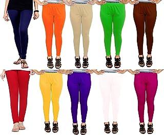 FAIQA Women's Cotton Leggings (LEG03P10, Multicolour, Free Size) -Combo Pack of 10