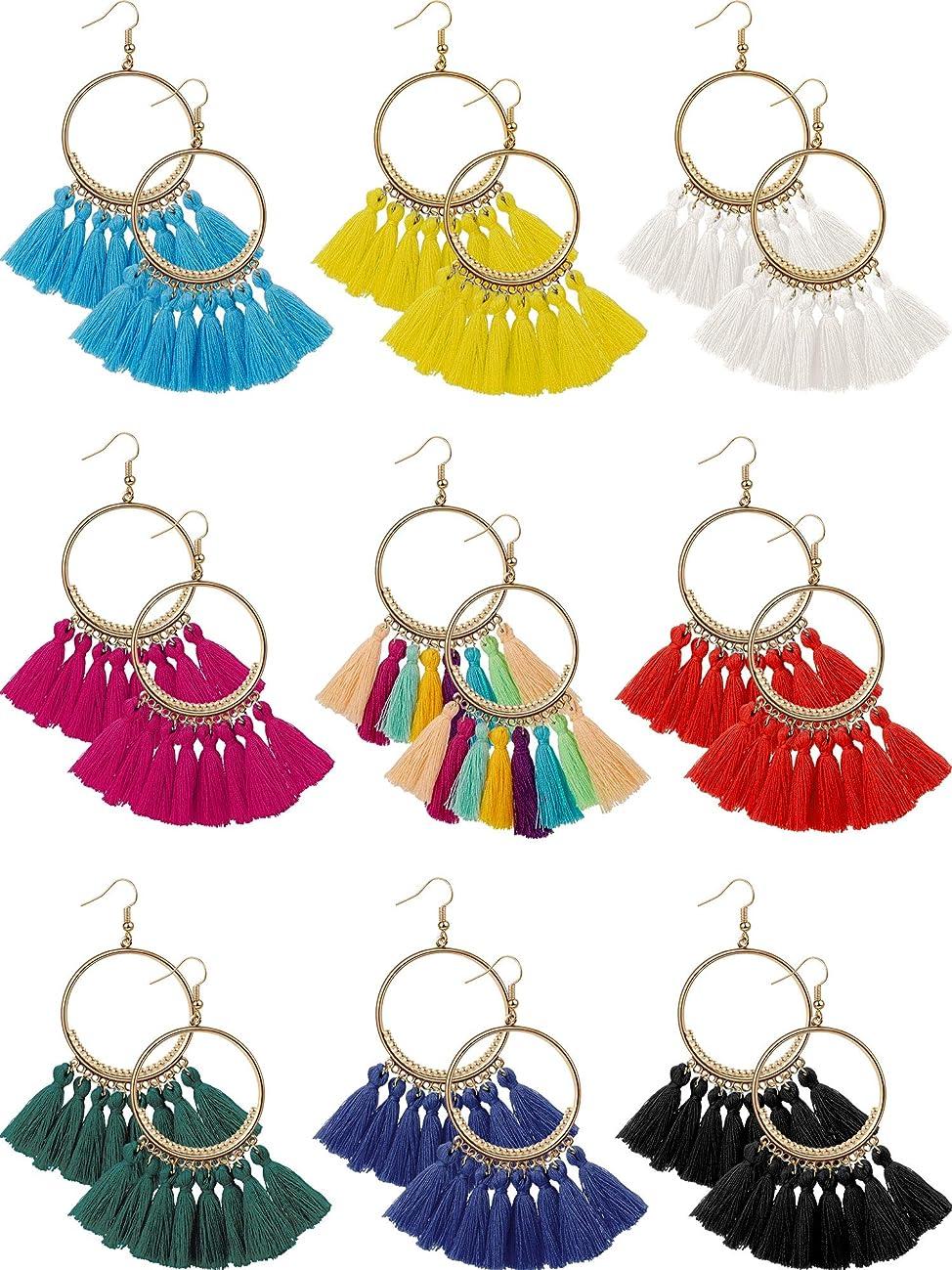 9 Pairs Tassel Hoop Earrings Bohemia Fan Shape Drop Earrings Dangle Hook Eardrop for Women Girls Party Bohemia Dress Accessory