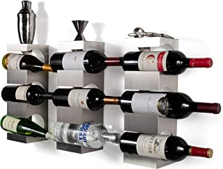 Wall Mounted Stainless Steel Wine Rack - Set of 3 - Wide Multi Sectional Bottle Holder with Top Shelf Section Stackable Modern Art Design Display (Holds 9 Bottles)