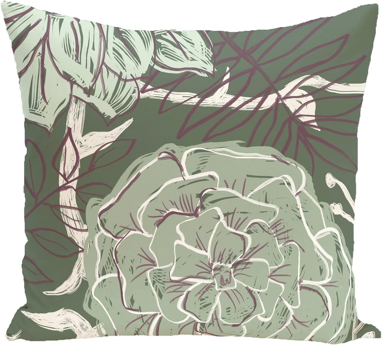 Ebydesign Flowers and Fronds Ranking TOP3 Floral Pillow Herb Max 63% OFF Print Green