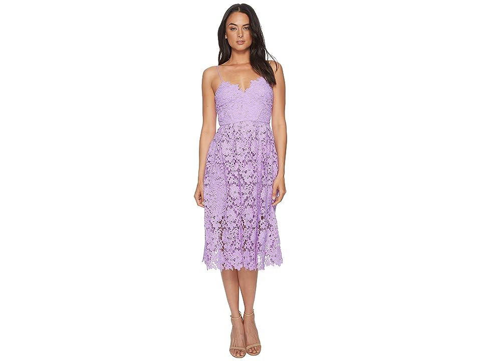 Donna Morgan Spaghetti Strap Lace Midi Dress (Lavender) Women