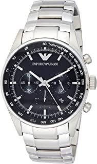 Emporio Armani Sportivo Men's Black Dial Stainless Steel Band Watch - Ar5980, Silver Band, Chronograph Display