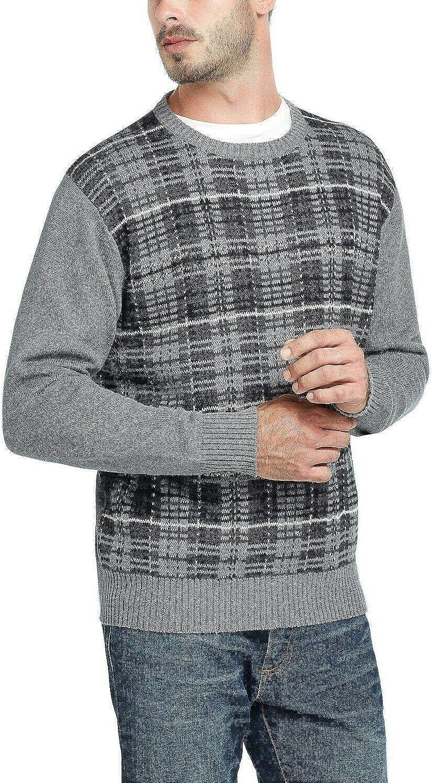 WEATHERPROOF VINTAGE Mens Gray Plaid Crew Neck Pullover Sweater Size: XXL