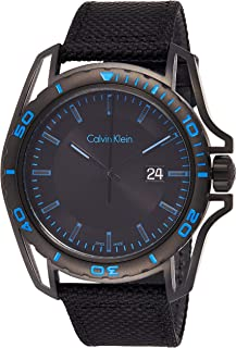 ساعة كواترز بعرض انالوج وسوار منسوج للرجال من كالفن كلاين