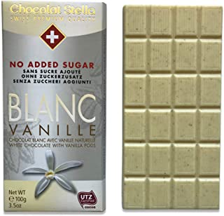 Premium Swiss White Chocolate - No Sugar Added, Low Carb (3g Net Carbs), Diabetic and Keto-friendly, UTZ-certified, Chocolat Stella, Imported from Switzerland (4 Bars)