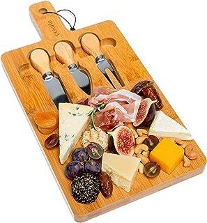 Tabla de Quesos y Cuchillos de Madera de Bambú (3 Cuchillos de Queso) - Tabla Para Cortar Queso Multifuncional - Tabla De Cortar Alimentos Por Un Lado Y Tabla De Quesos Por El Otro - BlauKe