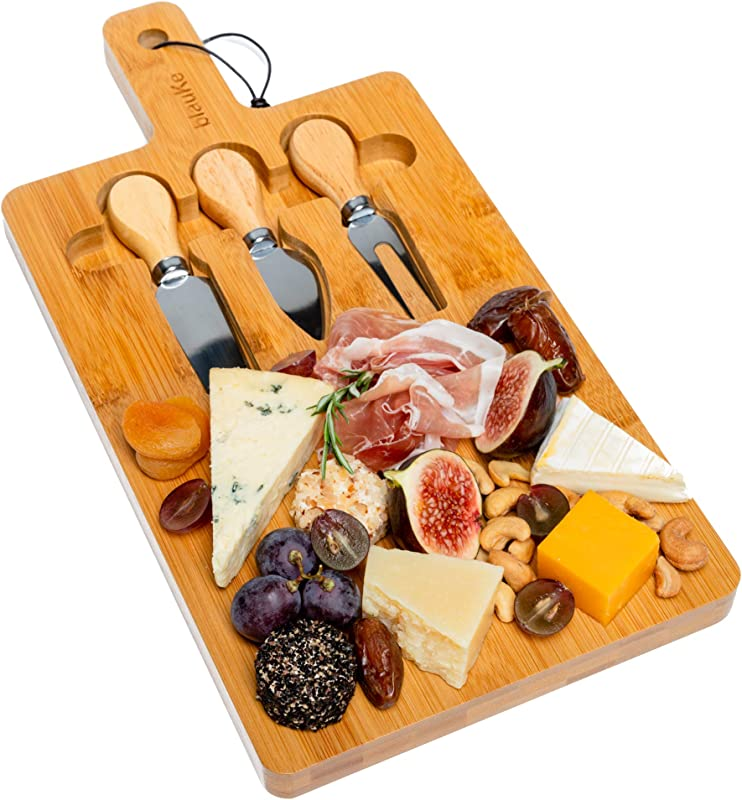 Bamboo Cheese Board With Cutlery Set Bamboo Cheese Board And Knife Set 3 Cheese Knives Included Bamboo Cheese Cutting Board BlauKe