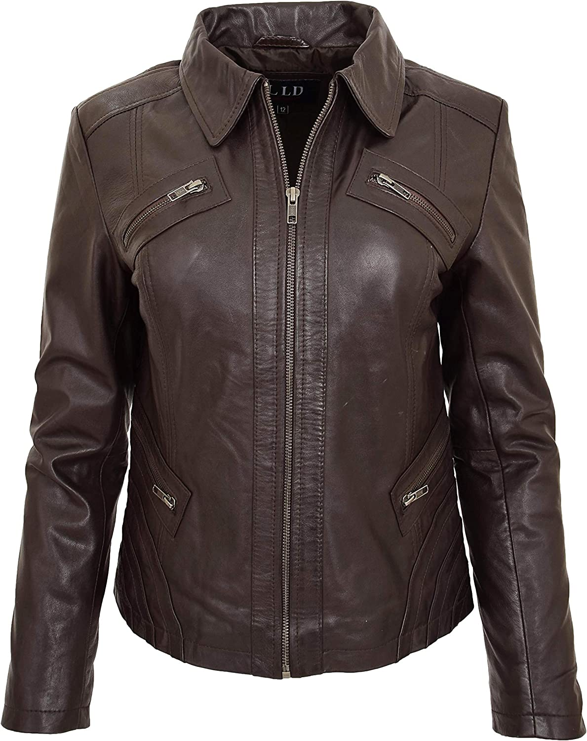A1 FASHION GOODS Ladies Soft Brown Leather Jacket Fitted Collared Latest Zip Fasten Biker Style Leah