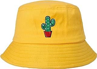 ZLYC Unisex Fashion Embroidered Bucket Hat Summer Fisherman Cap for Men Women Teens