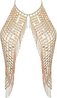 Ingemark Sexy Harness Waist Bikini Chain Bra Body Chain Shoulder Necklace for Women Gold Silver Sequin