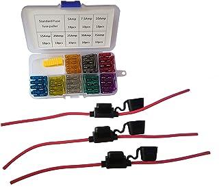 KOLACEN Bil vanlig standard bladtyp säkring blandade kit 81 delar + 3 delar in-line 12 mätare standardsäkringshållare