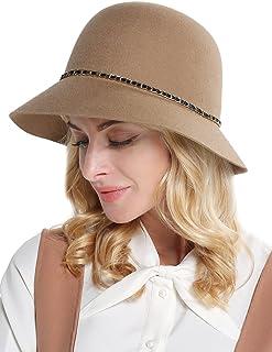 蒂芙莎 秋冬季羊毛呢帽子女金属链条蝴蝶结盆帽百搭小礼帽毛呢渔夫帽