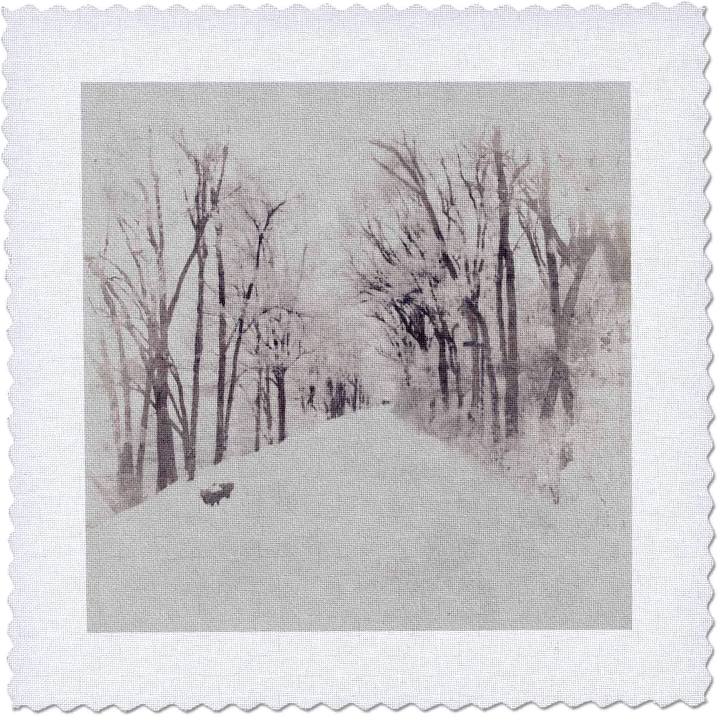 Financial sales sale 3dRose Image Of Watercolor Portland Mall Black and With Snowy Lane Trees White