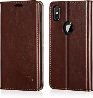 Belemay iPhone Xs Case, iPhone Xs Wallet Case, [Slim Fit] Genuine Leather Flip Case Folio Cover [Durable Inner Case] Card Holder Slots, Kickstand, Cash Pockets Compatible iPhone Xs (5.8-inch), Brown