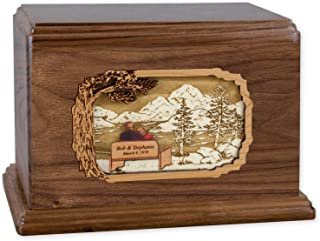 Soulmates Together Forever Wooden Companion Cremation Urn for Two People - Wood Art Inlay Funeral Urn with Couple Together Again on Bench (Companion Urn for Two People, Walnut CUSTOM)