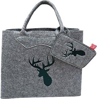 Filztasche grau mit grünen Hirschkopf und Handytasche 38x30 cm