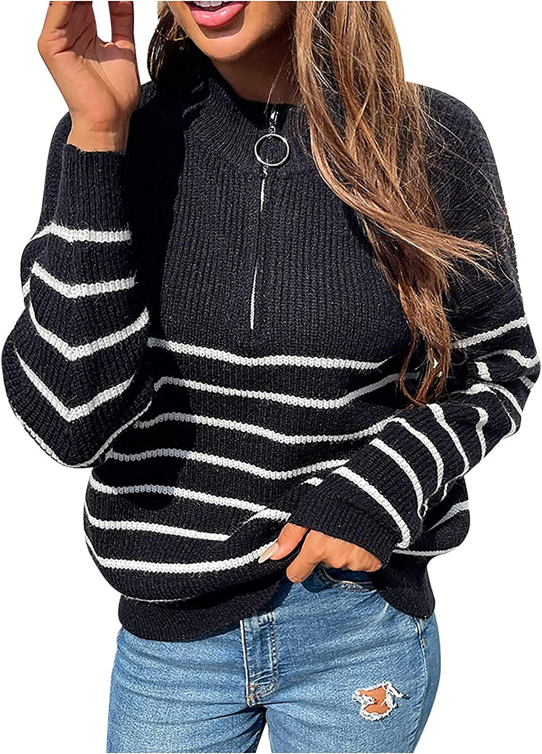 Women's Casual Hoodies Pullover Fashion Zipper Striped Sweatshirts Long Sleeve Ladies Knitted Sweater Tops