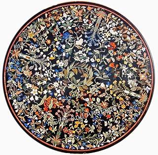Table de salle à manger ronde en marbre noir de 213,4 cm avec décoration de maison indienne