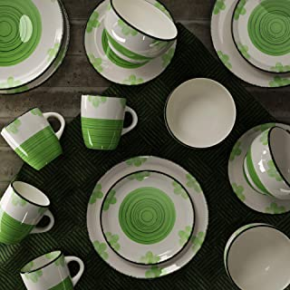 Raj RSSP28-GREEN 16 PCS ORCHID STONEWARE DINNER SET GREEN