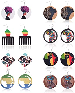 Melody Clover 8 Pair Wooden Round Earrings DIY Printing African Multicolor Geometric Personalized Earrings for Woman Fashi...