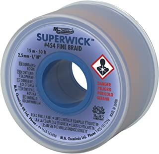 MG Chemicals Desoldering Braid #4 Fine Braid Super Wick with RMA Flux, 50' Length x 0.1