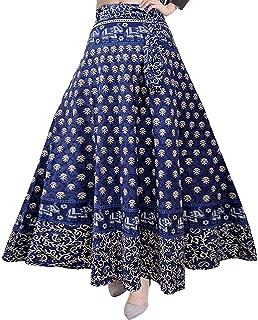 Indian Dresses Store Modern Kart Women's Cotton Wrap Skirt (MKSKT056, Black, Free Size)