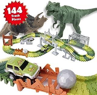 Veken Race Track Set with 2 Dinosaurs, 1 Race Car Toy, Cage, Ball, Double-Door, 2 Bridges, Slopes, 4 Trees & 144 Flexible Tracks for Boys Girls