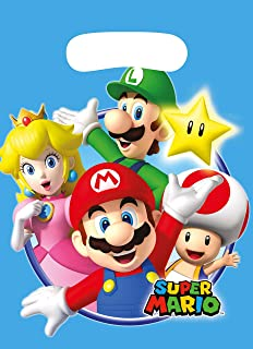 Amscan New Party Bags with Super Mario Print 8 Pieces (1 Toys) Multicolour