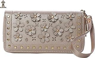 Floral Wallet Purses For Women Wristlet Strap Snail Studs Double Zipper Cards Cellphone Pocket 3D Flower
