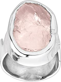 Pink Lady' 7 ct Natural Rose Quartz Ring in Sterling Silver