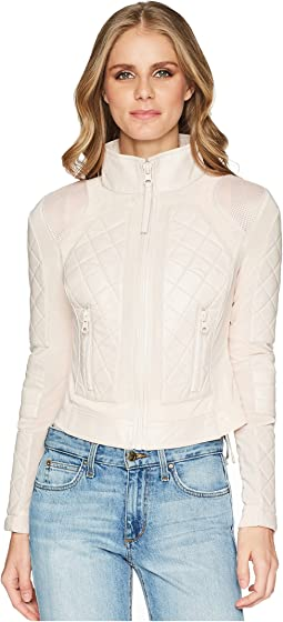 Le3no womens faux leather quilted zip up moto biker jacket with ... 07a05d2cf