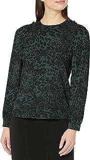 Amazon Brand - Lark & Ro Women's Crepe de Chine Long Sleeve Smocking Detail Crewneck Blouse