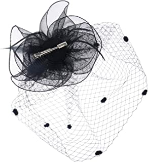 b8a3a3f57d6952 Felizhouse Tea Party Flower Veil Fascinator Hats Kentucky Derby Headpiece  Wedding Church Bridal Cocktail Fancy Headband
