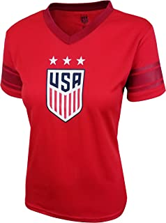 Icon Sports U.S. Soccer USWNT Women's Football Polymesh Tee (Alternate Red, Medium)