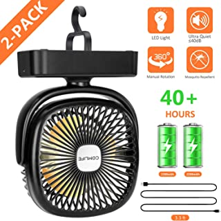 COMLIFE Portable LED Camping Lantern with Tent Fan -4400 mAh Battery Powered Mini Desk Fan with USB Charging Input-Survival Kit for Hurricane, Emergency, Storm, Outages, 2 Pack