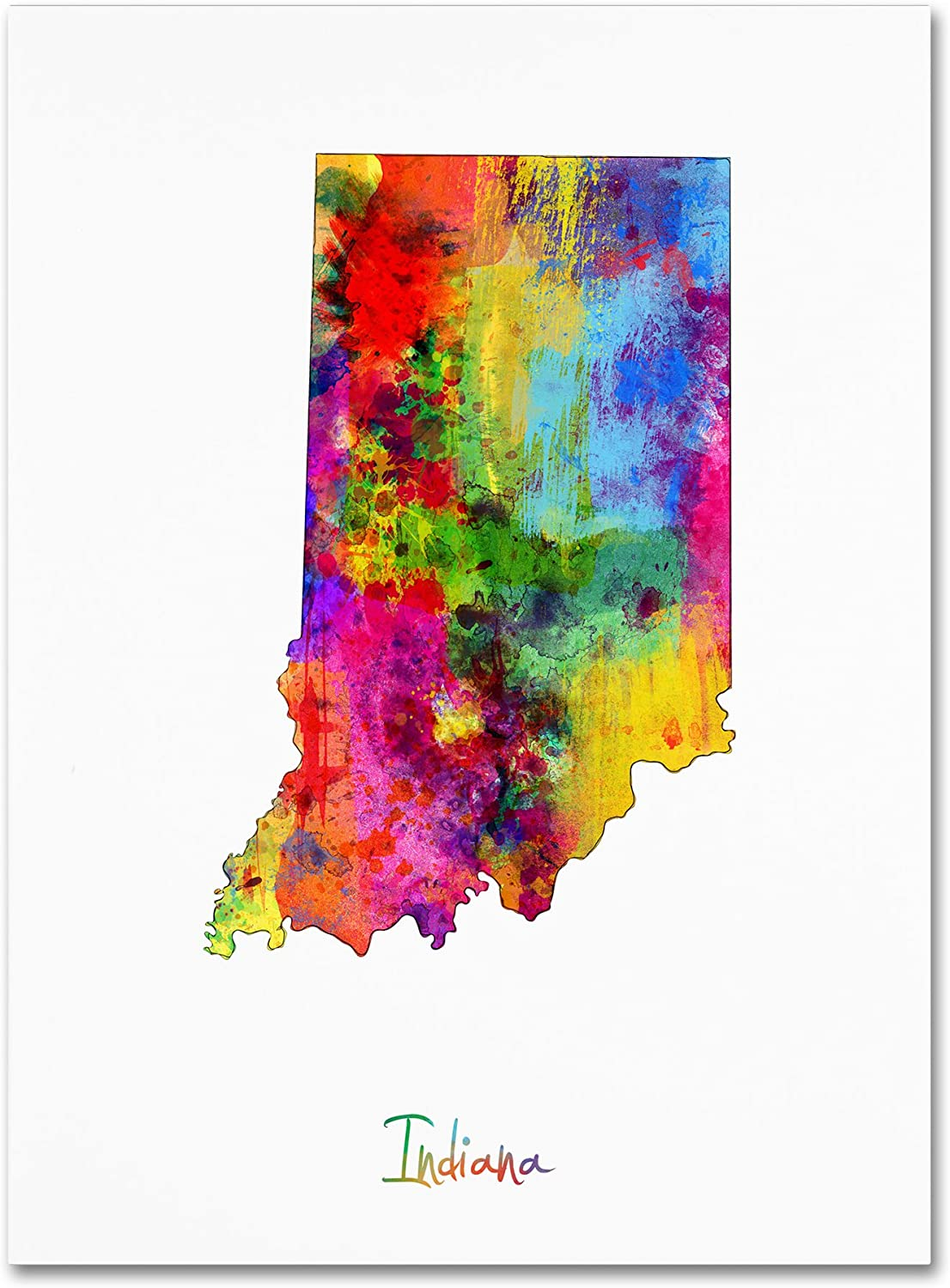 Indiana Reservation Map Ranking TOP9 by Michael Tompsett Canvas 14x19-Inch Art Wall