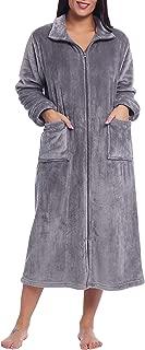 Womens Zip Up Fleece Robe Long Plush Bathrobe Soft Warm House Coat