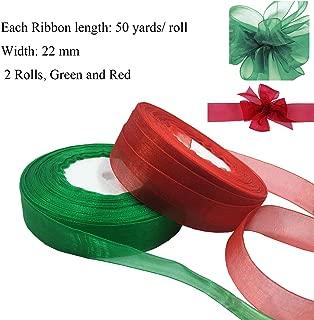 Levylisa Organza Ribbon, Bulk Ribbon,Wholesale,Bulk Buy Ribbon,Wedding Decor, Christmas Ribbon, Giftwrap, Red,Green Organza Ribbon,Organza Ribbon Destash (Red and Green)