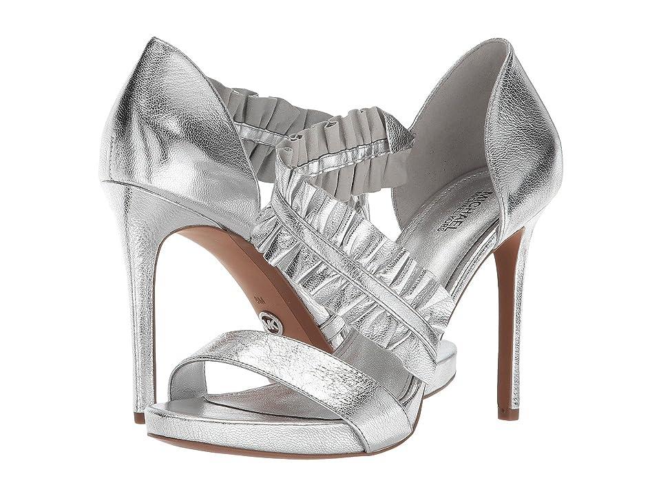 MICHAEL Michael Kors Bella Platform (Silver Metallic Nappa) High Heels