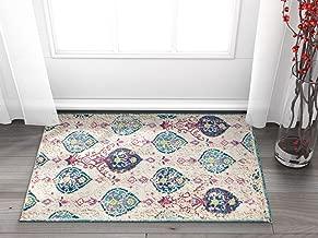 Well Woven Sera Multi Blue & Pink Oversized Panel Design Short Pile Kilim-Style Modern 2x3 (2' x 3') Area Rug Vintage Oriental Multicolor Pattern