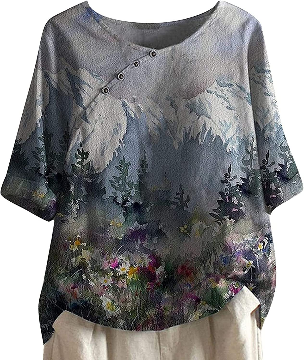 Cotton Linen Tops For Selling and selling Womens Plus T Short Sleeve Round Neck Size Max 80% OFF