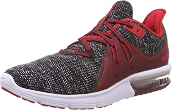 Nike Men's Air Max Sequent 3 Running Shoes (11 D US, Black/Red/White)