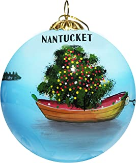 Art Studio Company Hand Painted Glass Christmas Ornament - Christmas Tree in Dinghy Nantucket