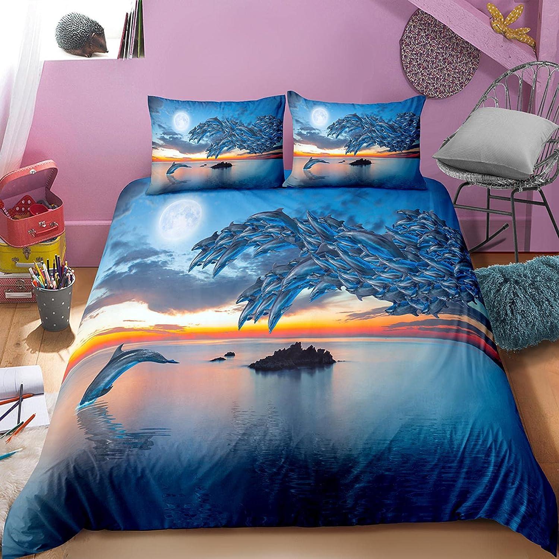 dsgsd Duvet Cover Full Size 259×218 Animal Ranking TOP18 Jacksonville Mall Dolphin Blue Ocean