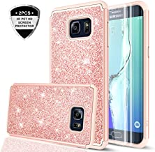 Galaxy S6 Edge Plus Case (not fit S6 Edge) with 3D PTE Screen Protector [2 Pack], LeYi Girls Women Glitter Heavy Duty Scratch-proof Protective Phone Case for Samsung Galaxy S6 Edge Plus + TP Rose Gold