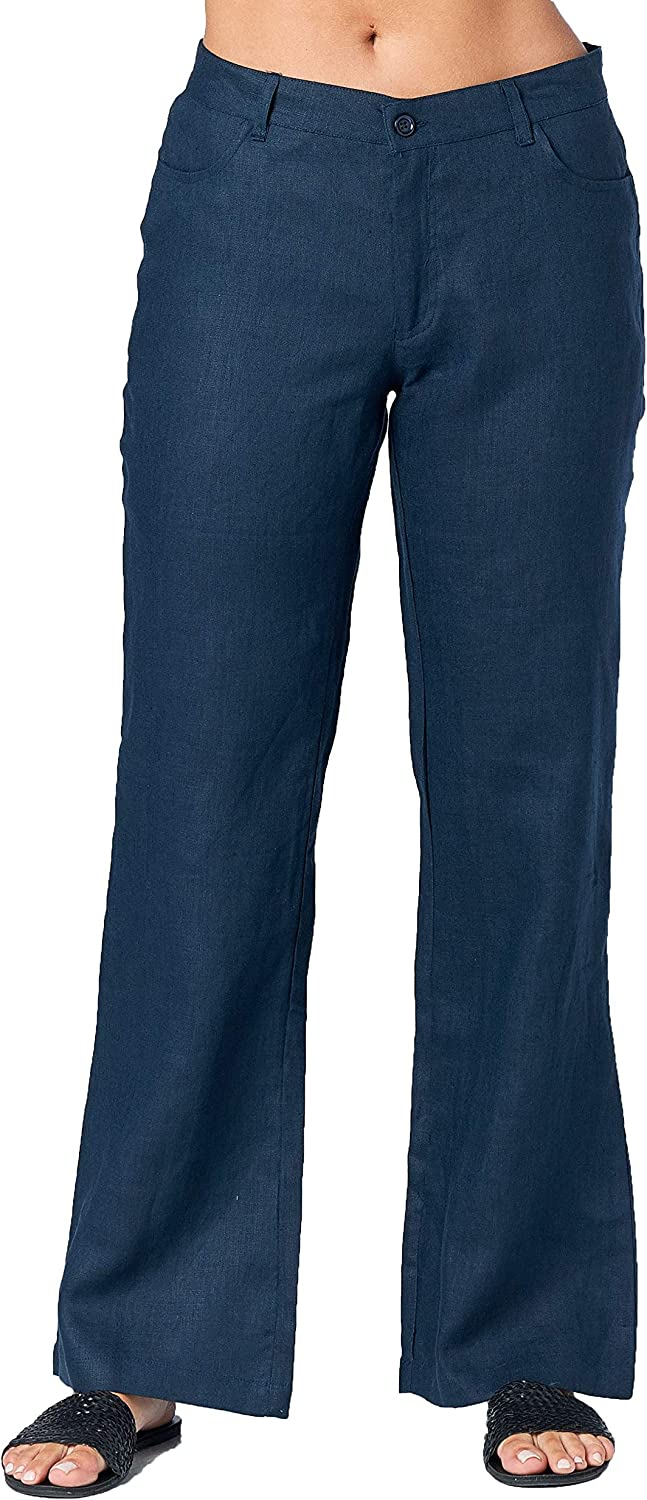 Mariyaab Women's Full Length 100% Linen Pants with Button Closure and Rounded Pockets