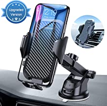 VANMASS Car Phone Mount, Dashboard Air Vent Cell Phone Holder for Car with Telescopic Arm & Dashboard Pad, Strong Sticky Suction, One Button Release Car Cradle, Compatible iPhone Samsung