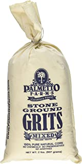 Palmetto Farms Mixed Yellow and White Stone Ground Grits 2 LB - Non-GMO - Just All Natural Corn, No Additives - Naturally Gluten Free, Produced in a Wheat Free Facility - Grinding Grits Since 1934