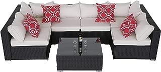 Do4U Patio Sofa 7-Piece Set Outdoor Furniture Sectional All-Weather Wicker Rattan Sofa Beige Seat & Back Cushions, Garden Lawn Pool Backyard Outdoor Sofa Wicker Conversation Set (Beige)